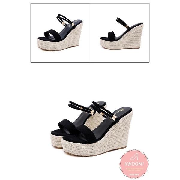 楔型涼鞋 拖鞋 2WAY兩穿一字 厚底涼鞋*KWOOMI-A61