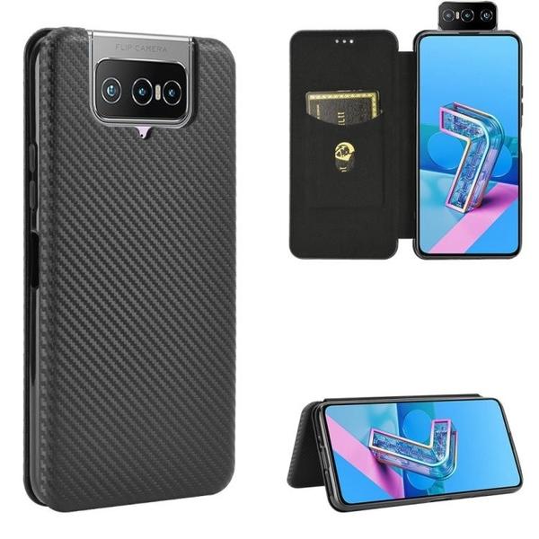 時尚碳纖維 翻蓋皮套 華碩 ASUS Zenfone 7 ZS670KS 手機殼 磁吸 支架插卡 掀蓋 保護殼 手機套