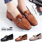 [Here Shoes] 百搭粗低跟小皮...