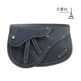 【巴黎站二手名牌專賣店】*現貨*Christian Dior 真品*SADDLE 藍色皮革馬鞍包 胸口包