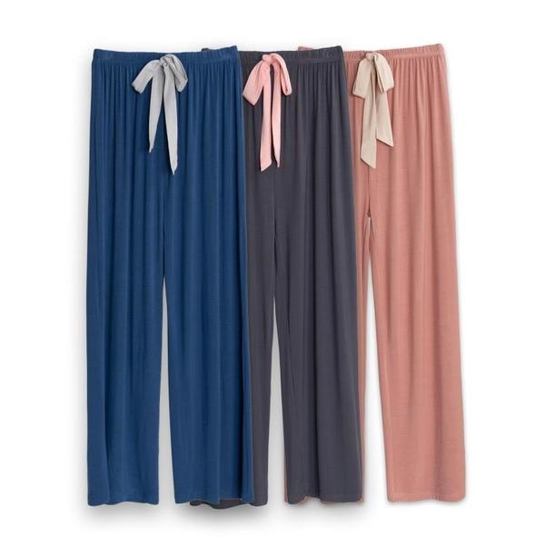 莫代爾彈力休閒家居女睡褲舞蹈瑜伽大碼闊腿直筒顯瘦春秋寬鬆長褲 韓國時尚週