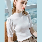 半高領內搭冰絲針織衫法式薄版泡泡袖上衣(四色S-2XL可選)/設計家 AL50238