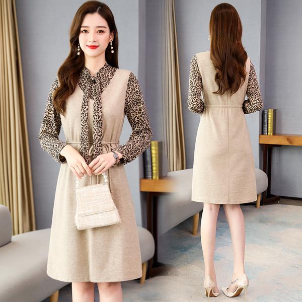絕版出清 韓系豹紋襯衣針織背心收腰連身裙套裝長袖裙裝