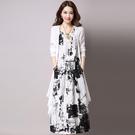 民族風連身裙 兩件套裝黑水墨洋裝女中長款寬鬆印花民族風裙子潮-Ballet朵朵
