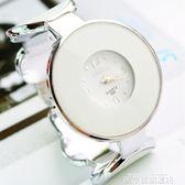 聖誕禮物韓版簡約個性大氣時尚流行女士學生開口式手鐲錶防水鋼帶石英手錶