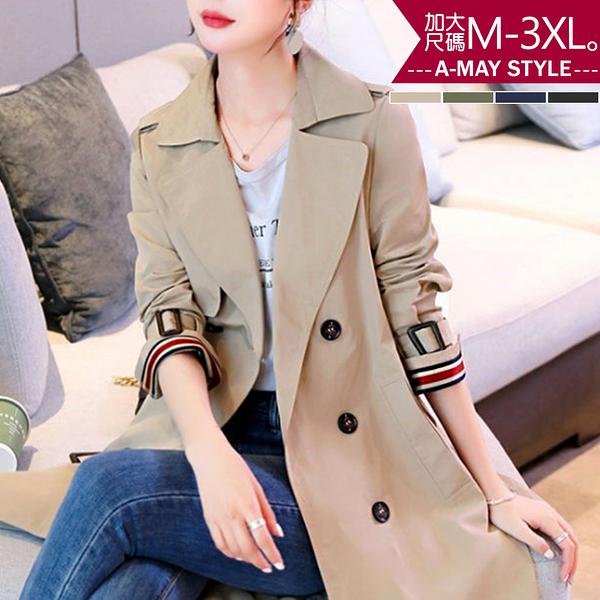 加大碼外套-質感條紋翻袖顯瘦過膝風衣(M-3XL)
