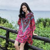泰國沙灘裙夏女寬鬆大呎碼顯瘦雪紡連身裙 洋裝民族風印花短裙海邊度假裙