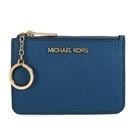 MICHAEL KORS 金字防刮皮革卡片鑰匙零錢包(灰藍色)-35F7GTVU1L