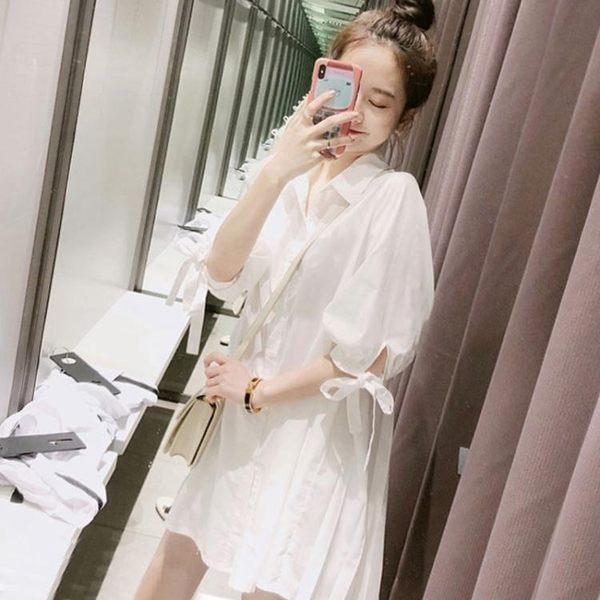 2019春秋裝新款韓版寬鬆很仙的白色襯衫女設計感小眾中長款襯衣裙 蘑菇街小屋