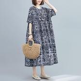 中大尺碼洋裝 2020夏季新款胖妹妹寬鬆休閑顯瘦大擺型復古印花圓領短袖連身裙女