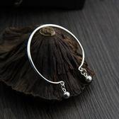 純銀手環(泰銀)-簡約鈴鐺生日情人節禮物女手鐲73gg49【時尚巴黎】