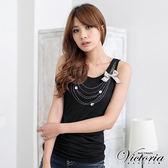 Victoria 燙鑽項鍊背心-女-黑