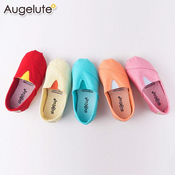 懶人鞋 童鞋 條紋 平底鞋 休閒鞋 男童 女童 經典百搭 素面 鞋子 Augelute F1051