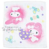 〔小禮堂〕美樂蒂方形毛巾《白粉弗蘭多愛心蘑菇》34x36cm 8002300 50148