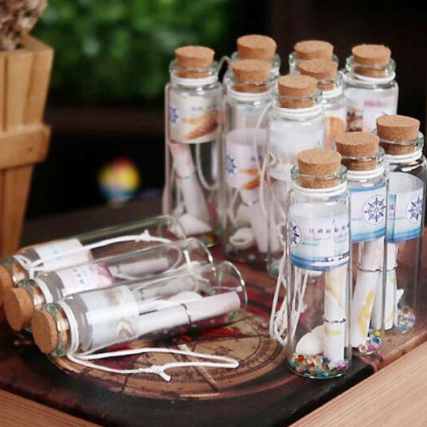 【BlueCat】海洋風貝殼軟木塞書籤幸運瓶 玻璃瓶 許願瓶 漂流瓶