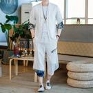 亞麻短袖襯衫男士中國風大碼透氣薄款唐裝套裝青年防曬半袖防曬衣【快速出貨】