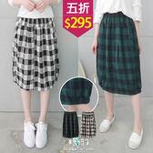 【五折價$295】糖罐子車線造型格紋花苞裙→預購【SS1620】