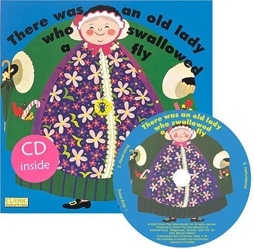 Classic Books With Holes:There Was An Old Lady Who Swallowed A Fly 有個老太太吞了一隻蒼蠅 童謠洞洞CD故事書