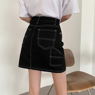 大尺碼半身裙L-4XL 1331#牛仔半身裙黑色高腰顯瘦小個子女新款a字包臀辣妹短裙子3F041.依品國際