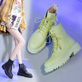 馬丁靴 英倫鞋  2019新款馬丁靴女酷機車鞋女英倫風平底百搭白色厚底高幫系帶短靴