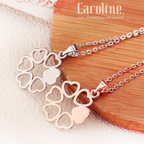 《Caroline》★質感精緻鏤空愛心六瓣花朵‧展現迷人氣質甜美魅力、水晶配飾時尚項鍊69501