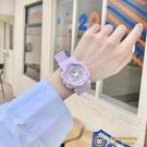 網紅獨角獸手表女學生IG原宿風簡約少女運動顯白紫色防水電子表【小獅子】