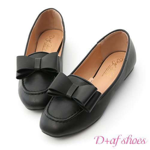 D+AF 甜美可愛.大蝴蝶結樂福娃娃鞋*黑