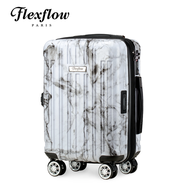 Flexflow 白大理石 19吋 智能測重 可擴充拉鍊 防爆拉鍊旅行箱 里爾系列 19吋行李箱【官方直營】