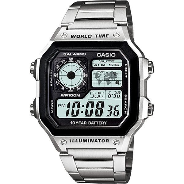 CASIO 卡西歐 10年電力電子錶-銀 AE-1200WHD-1A / AE-1200WHD-1AVDF