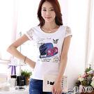 上衣蕾絲拼接袖燙鑽名媛印花氣質彈力透氣T恤LIYO理優E822012