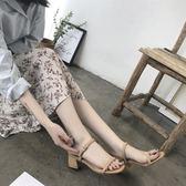 中跟涼鞋2018夏季方頭涼鞋女士一字扣帶中跟粗跟仙女高跟鞋 貝兒鞋櫃
