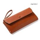 長夾-復古油蠟皮大容量長款女皮包雙拉鍊手機包附手腕帶 AngelNaNa (SMA0301)