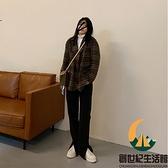 褲子高腰顯瘦直筒褲寬鬆黑灰色闊腿牛仔褲【創世紀生活館】