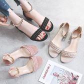 涼鞋  新款涼鞋女夏一字帶中跟韓版少女晚晚鞋粗跟小清新低跟高跟鞋 coco衣巷