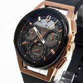 [萬年鐘錶]  BULOVA寶路華 曲面設計 三眼 計時碼錶 灰錶面 玫瑰金殼 黑橡膠帶 男錶 98A185