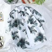 花襯衫 夏威夷花襯衫男潮牌復古寬鬆休閒男裝港風chic情侶沙灘短袖襯衣男 晶彩 99免運