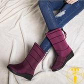 雪地靴冬季加絨防滑中筒靴韓版防水保暖女百搭棉靴子【雲木雜貨】