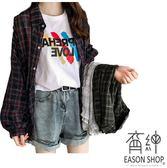 EASON SHOP(GW0164)復古撞色格紋長版薄款前排釦泡泡袖長袖襯衫外套女上衣服落肩寬鬆顯瘦內搭衫綠色