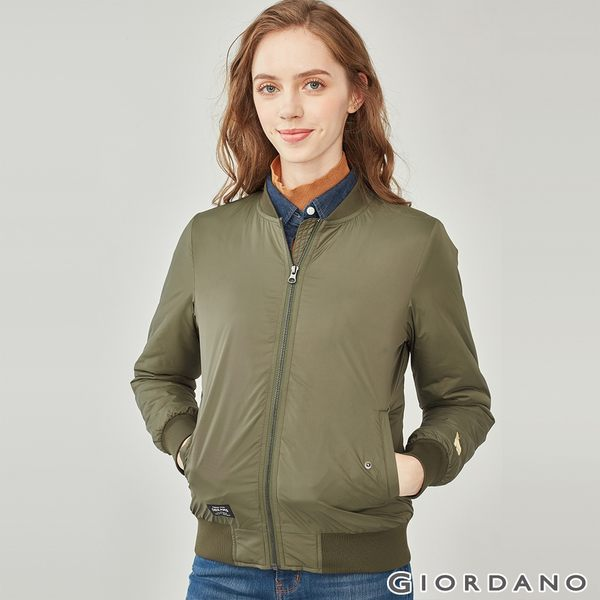 【GIORDANO】女裝MA1刺繡鋪棉飛行外套-02 葡萄葉綠