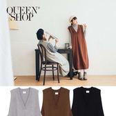 Queen Shop【01084311】V領羅紋長版針織洋裝 三色售*現+預*