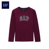 Gap男童 logo簡約長袖T恤 497331-酒紅色