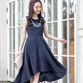優雅女伶圓領無袖前短後長大裙襬洋裝~美之札