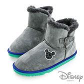 Disney 奇幻天堂~豹紋米奇金屬釦環雪靴-灰(女)