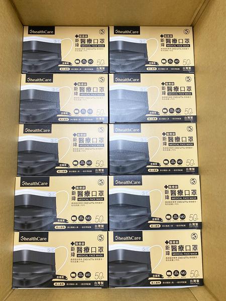 【一箱40盒】中衛同等級 鉅瑋成人醫療口罩(未滅菌),50片/盒,夜幕黑