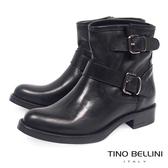 Tino Bellini義大利進口全真皮雙釦帶低跟短靴_黑 B69021 歐洲進口