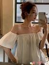 一字領上衣 露肩短款心機一字領上衣設計感小眾夏季短袖襯衫修身復古襯衣女裝 愛丫 免運
