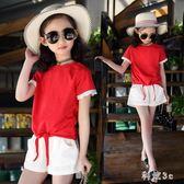 童裝女童時尚潮流新款小女孩運動短袖短褲中大尺碼兩件套洋氣兒童套裝 js5642『科炫3C』