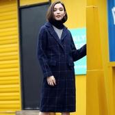 簡朵女裝冬季新款百搭翻領修身中長款保暖外套含羊毛大衣女