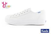 Keds厚底帆布鞋 女鞋 皮面 防潑水 小白鞋 休閒鞋H9863#白色◆OSOME奧森鞋業