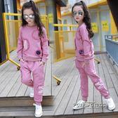 女童秋裝套裝2018新款潮中大童裝春秋洋氣純棉兩件套兒童時髦套裝